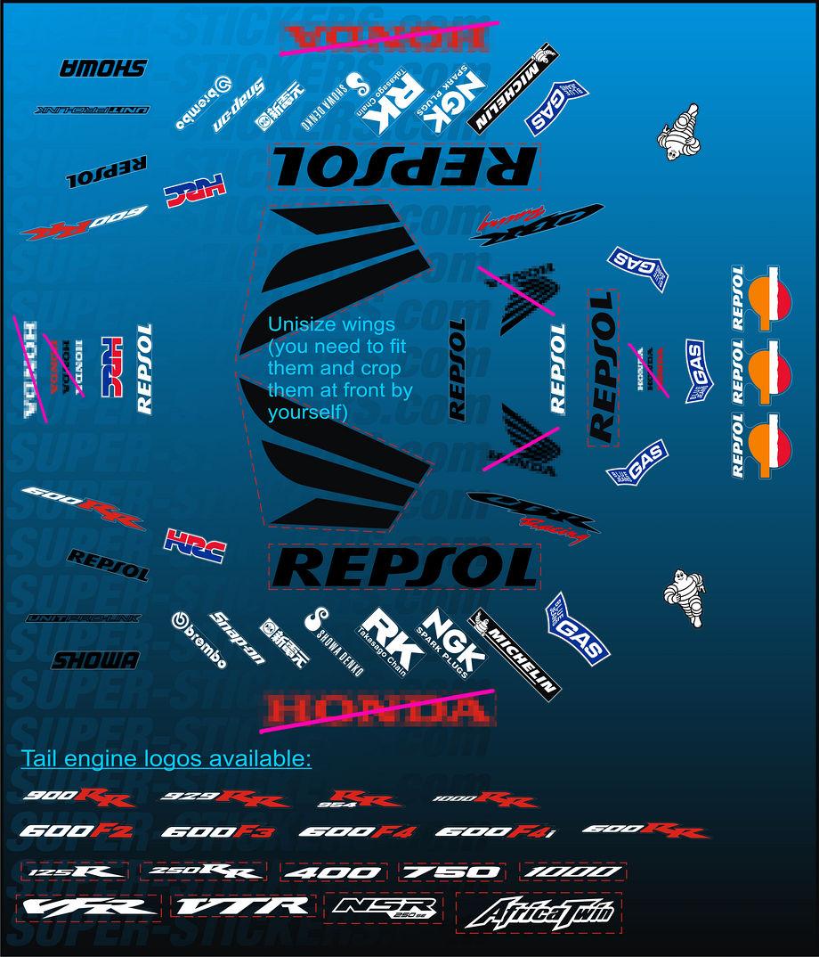 Repsol decals stickers for honda cbr 125 250 600 900 954 929 r rr vtr vfr 1000 ebay for Autocollant mural